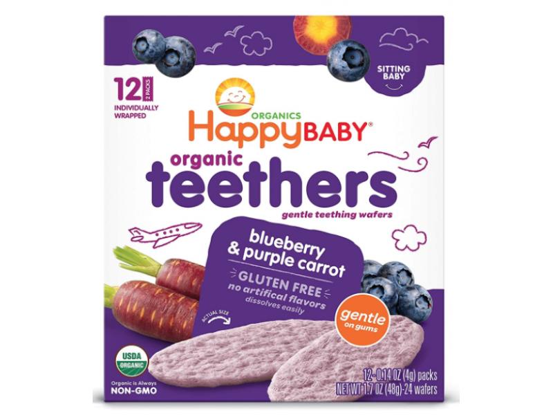 泰國 HAPPY BABY有機藍莓/紫胡蘿蔔牙仔餅 48g